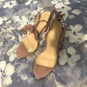 Brand new never been worn pink suede heels